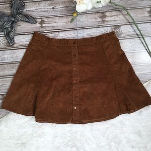 JOE BOXER Circle Skater Brown Corduroy Skirt Med